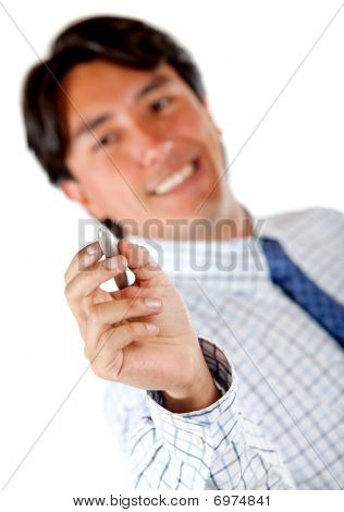 Businessman Writing Something