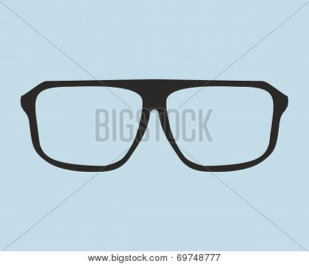 Nerd glasses vector isolated on blue background. Sign of intelligence, professor or secretary