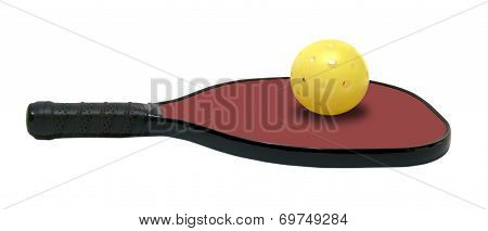 Pickleball - Horizontal Red Paddle with Yellow Ball