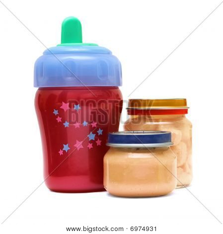 Bottle And Food For Baby On A White Background