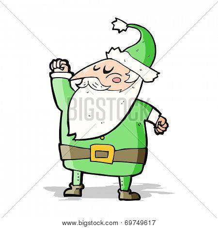 cartoon santa claus punching air