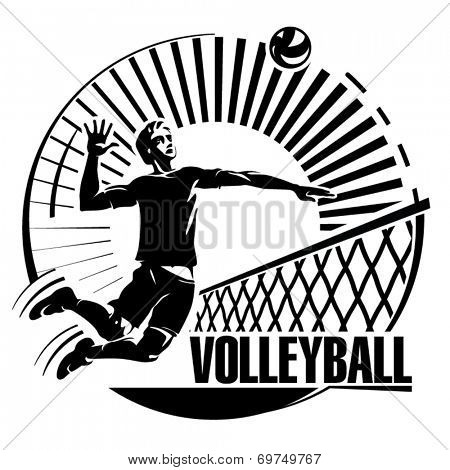 Volleyball. Vector illustration in the engraving style