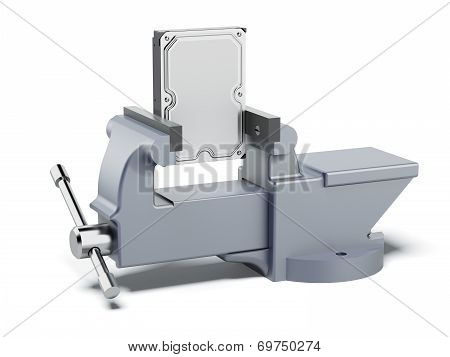 Hard disk drive in vise