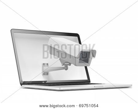 Security camera and laptop