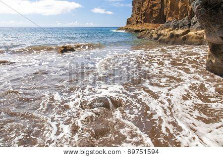 Black sand volcanic beach. Tenerife Island