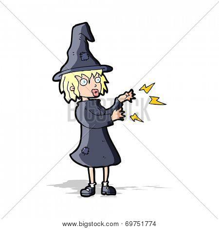cartoonw witch girl casting spell