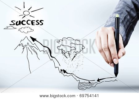 Close up of businessman hand drawing business sketches