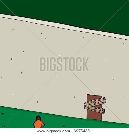 Man At Blocked Door