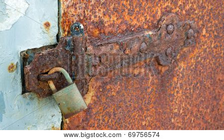 Rusted Locked Solid Metal Door Hinge Padlock