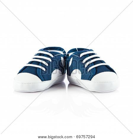 Blue Baby Shoes Isolated On White Background