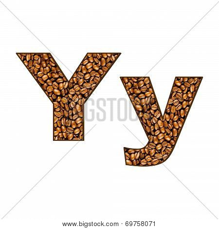 Coffee Letter On White.  One Letter Of  Coffee Alphabet. Letter Y.