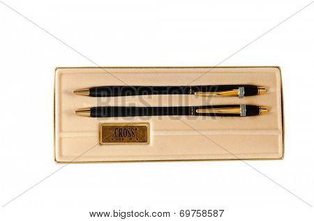 Hayward, CA - August 7, 2014: Black & Gold Cross pen and pencil set with custom logo for Ampex  in presentation case