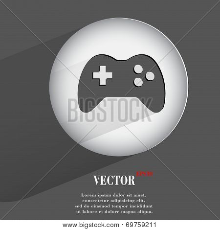 joystick. Flat modern web button with long shadow and space for your text