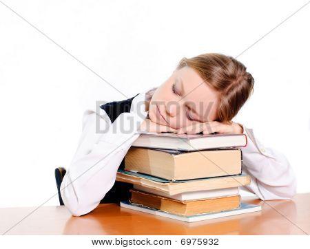 Student Sleepin On Books
