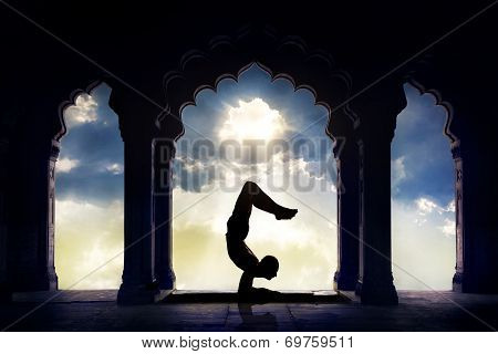 Yoga Silhouette In Temple