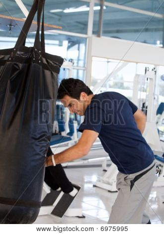 Man Boxing At The Gym