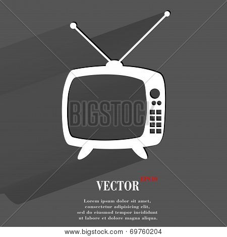 Retro tv. Flat modern web button with long shadow and space for your text.