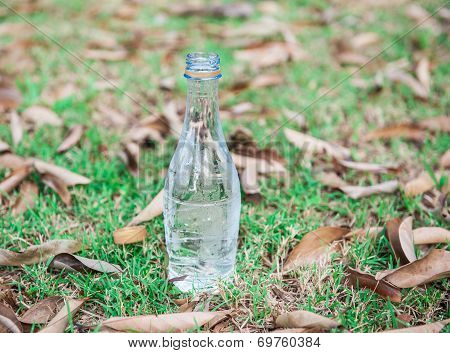 Cold Water In A Bottle On The Lawn