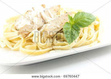 Chicken Fettuccini alfredo with fresh basil leaves delicious