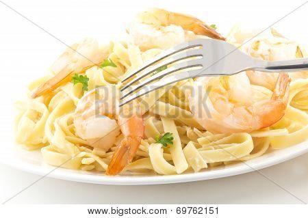 shrimp Fettuccini Alfredo with fresh parsley leaves in fancy arrangement
