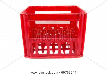 Red Plastic Storage Box On A White Background