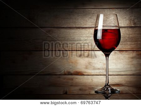 Glass Of Red Wine On A Young