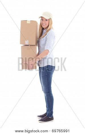 Post Delivery Woman With Carboard Boxes Isolated On White