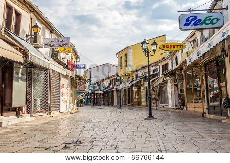 In The Streets Old Bazaar Of City Skopje