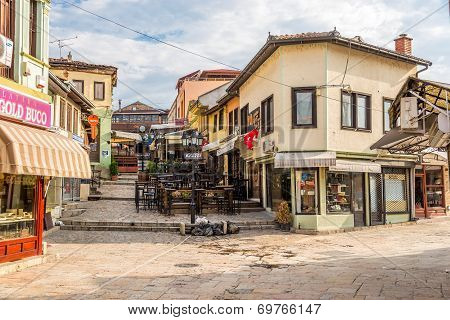 In The Streets Old Bazaar Of City Skopje