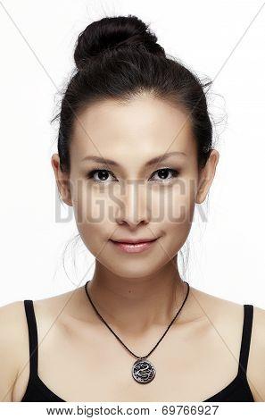Asian Woman Beauty Face Closeup Portrait.