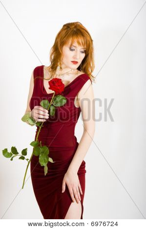 Glamour portrait of young sexy woman in red dress with rose