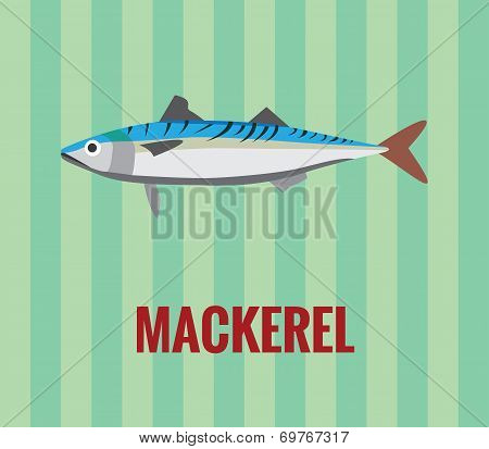 Mackerel drawing on green background.