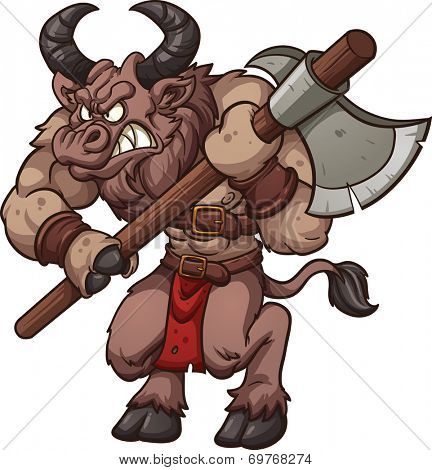 Cartoon minotaur with axe. Vector clip art illustration with simple gradients. All in a single layer.