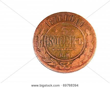 Ancient Russian Copper Coin On A White Background.