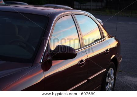 Sunset In Burgundy Car
