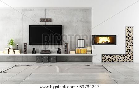 Contemporary Lounge With Fireplace