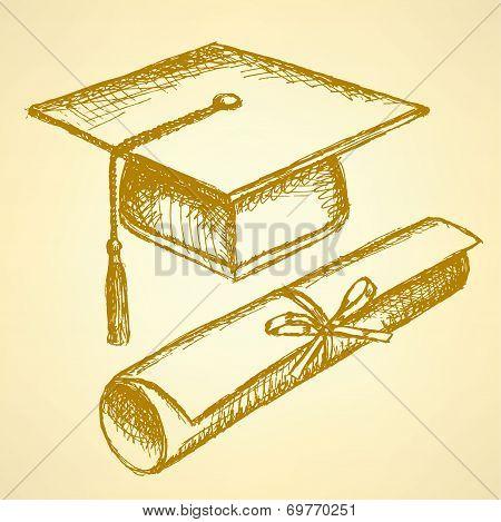 Sketch Graduation Hat And Diploma