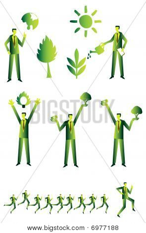 Eco People Group, Business Green Icons Set 2