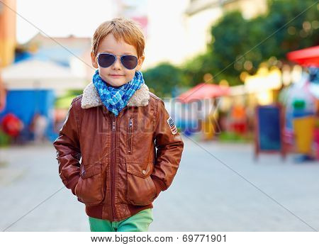 Stylish Kid Walking City Street, Autumn Fashion