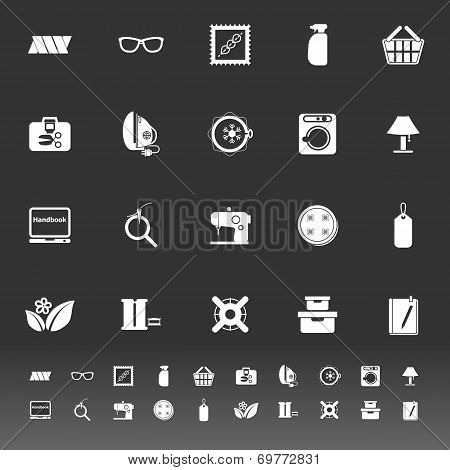 Sewing Cloth Related Icons On Gray Background