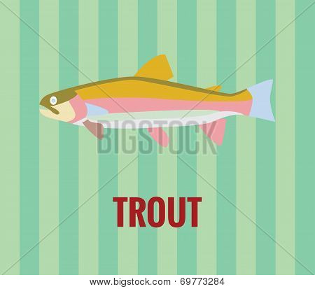 Trout drawing on green background.