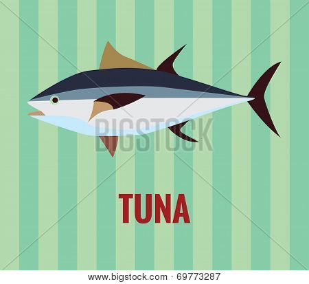 Tuna fish drawing on green background.