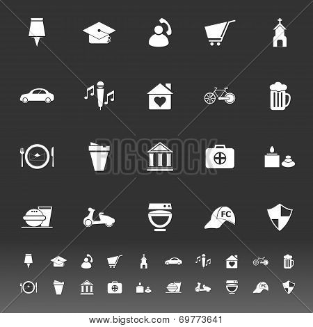 Map Sign And Symbol Icons On Gray Background