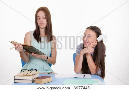 The Teacher Reads Student Assignments From Textbook