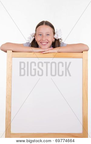 Girl And Advertising Stand