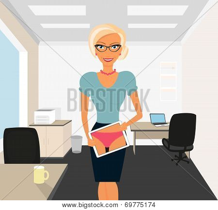Blonde woman flirting in office using tablet pc