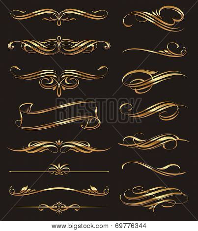 Golden calligraphic design elements