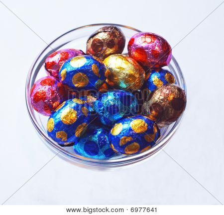 Chocolate Eggs In Glass Bowl