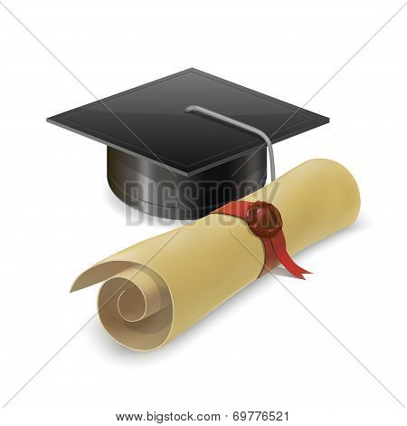 Graduation Cap With Diploma. Isolated On White Background