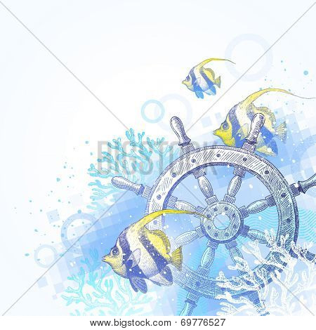 Hand drawn illustration - ship steering wheel, corals and tropical fishes